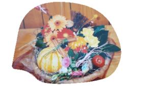 ハロウィンアレンジ 生花とかぼちゃ