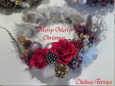 handmade Christmas Wreath with preserved flower