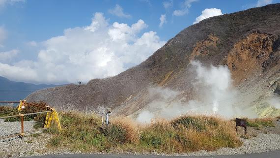 硫黄のにおいが立ち込める大涌谷