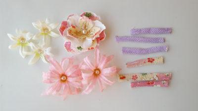 造花を和風に加工したパーツ