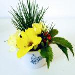お正月 花のアレンジメントを簡単に小さく沢山作るには
