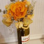 バレンタイン ワインギフトに花を添えたラッピング方法