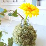 一輪挿しを手作り  花瓶は紙 粘土と空き瓶でできちゃいます