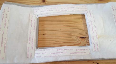 厚紙にキルト芯を付ける