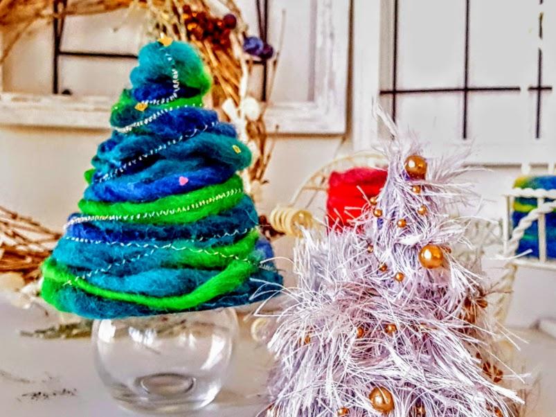 クリスマスツリー手作り毛糸2種r